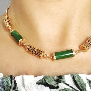 VTG DESIGNER SIGNED SARAH CO JADE & GOLD Necklace